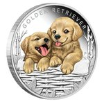 50 Cents Puppies - Hundewelpen - Golden Retriever Tuvalu 1/2 oz Silber 2018 PP **