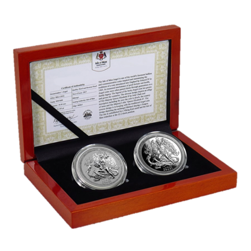 2 x 1 Angel Engel PU / Reverse Proof Set Isle of Man 2 x 1 oz Silber 2018 PU - Reverse Proof **