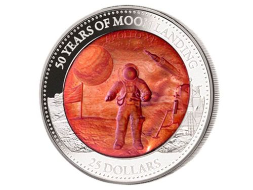 25 $ Dollar 50 Years Moon Landing 50 J. Mondlandung Mother of Pearl Solomon Islands 5 oz Silber 2019
