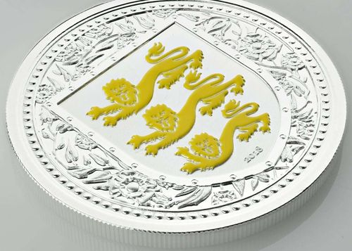 1 Pound The Royal Arms of England - Three Lions Gibraltar Yellow Reverse Proof 1 oz Silber 2018 **