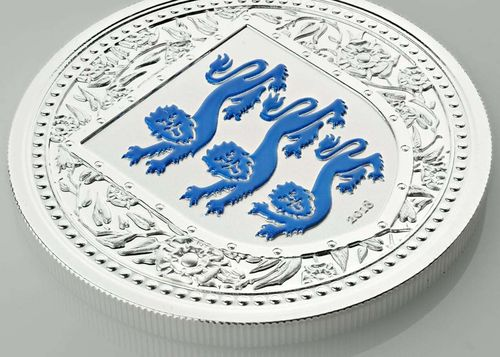 1 Pound The Royal Arms of England - Three Lions Gibraltar Blue Reverse Proof 1 oz Silber 2018 **