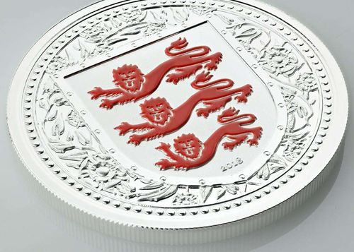 1 Pound The Royal Arms of England - Three Lions Gibraltar Red Reverse Proof 1 oz Silber 2018 **