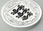 1 Pound The Royal Arms of England - Three Lions Gibraltar Black Reverse Proof 1 oz Silber 2018 **