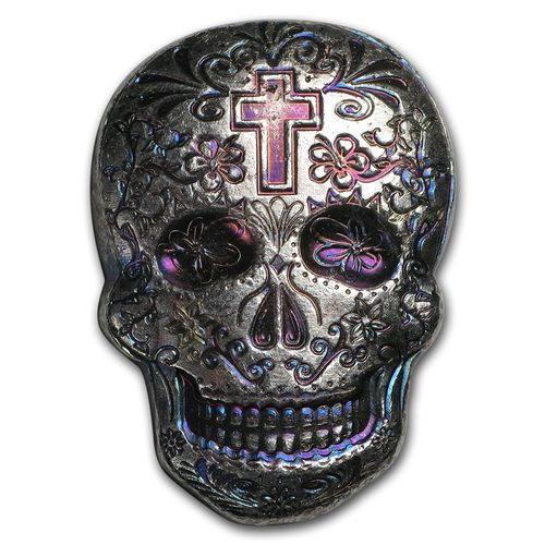2 oz Silber Skull Totenkopf - Day of the Dead - Dia de los Muertos - Cross