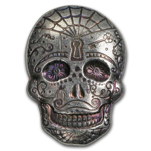 2 oz Silber Skull Totenkopf - Day of the Dead - Dia de los Muertos - Spiderweb