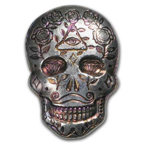 2 oz Silber Skull Totenkopf - Day of the Dead - Dia de los Muertos - All Seeing Eye