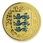 5 Pfund Pounds The Royal Arms of England - Three Lions Gibraltar Blue Reverse Proof 1 oz Gold 2018