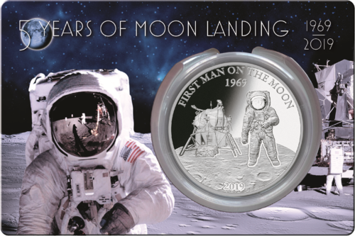 5 $ Dollar 50 Years of Moon Landing - 50 Jahre Mondlandung Barbados 1 oz Silber PP 2019