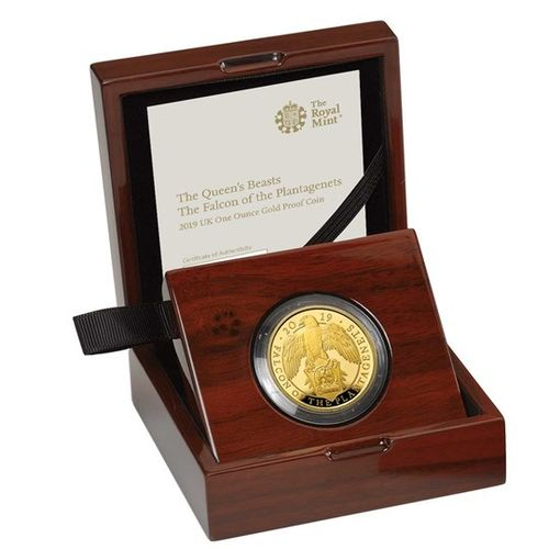 100 Pfund Pounds The Queen's Beasts The Falcon of the Plantagenets Grossbritannien 1 oz Gold PP 2019