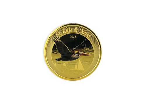 10 $ Dollar EC8 - Eastern Caribbean 8 - Brown Pelican St. Kitts & Nevis 1 oz Gold Prooflike 2018