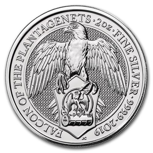 5 Pfund Pounds The Queen's Beasts The Falcon of Plantagenets Großbritannien 2 oz Silber 2019 **