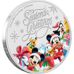 1 $ Dollar Disney Weihnachten Season's Greetings Niue Island 1/2 oz Silber 2018 **