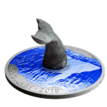 50 $ Dollar Soapstone Sculpture Whale's Tail - Wal - Walflosse Kanada 5 oz Silber 2018 **