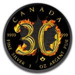 5 $ Dollar 30th Anniversary Silver Maple Leaf Burning Black Fire Maple Leaf Kanada 1 oz Silber 2018