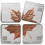 4 x 3 $ Dollar Pure Silver Rose Gold-Plated Maple Leaf Quartet Set Kanada Silber 2018 **