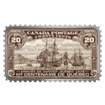 20 $ Dollar Canada's Historical Stamps Arrival of Cartier Quebec 1535 Kanada 1 oz Silber PP 2018 **