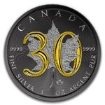 5 $ Dollar 30th Anniversary Silver Maple Leaf Black Ruthenium Kanada 1 oz Silber 2018