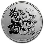 2 $ Dollar Disney Mickey Mouse - Lunar Hund Dog Niue Island 1 oz Silber 2018 **