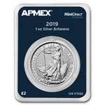 2 Pfund Pounds Britannia Grossbritannien UK Apmex MintDirect® Premier 1 oz Silber 2019 **