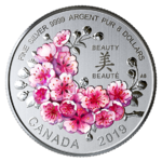 8 $ Dollar Brilliant Cherry Blossoms - Kirschblüte Kanada 1/4 oz Silber 2019 **
