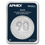 2 Dollar Disney Mickey Mouse 90th Anniver. Niue Island Apmex MintDirect® Premier 1 oz Silber 2018 **