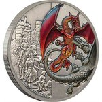 5 $ Dollar Dragons Collection - The Red Dragon - Der rote Drache Niue Island 2 oz Silber 2019 **