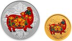10 + 50 Yuan Lunar Pig Schwein Set farbig coloured China 3 Gramm Gold + 30 Gramm Silber PP 2019