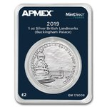 2 Pounds Pfund Buckingham Palace Grossbritannien UK Apmex MintDirect® Premier 1 oz Silber 2019 **