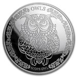 5 $ Dollar The Wisdom of Owls - Scops Owl - Zwergohreule Tokelau 1 oz Silber PP 2018 **