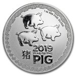2 $ Dollar Lunar Schwein - Year of the Pig - Three Pigs Niue Island 1 oz Silber 2019 **