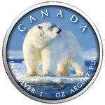 5 $ Dollar Trails of Wildlife - Polar Bear Eisbär Maple Leaf Farbe farbig 1 oz Silber Kanada 2019 **