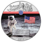 1 $ Dollar 50 Jahre Mondlandung - First Man on the Moon - Eagle Farbe 1 oz Silber USA 2019 **