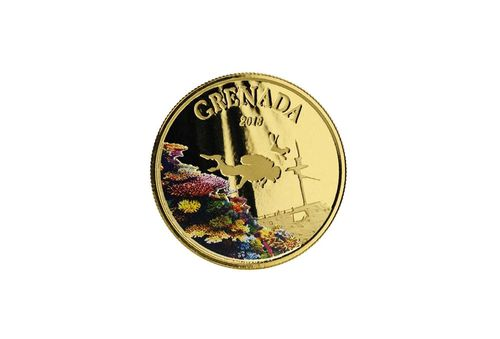 10 $ Dollar EC8 - Eastern Caribbean 8 - The Diving Paradise - Grenada 1 oz Gold Prooflike 2018