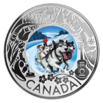 3 $ Dollar Canadian Fun and Festivities - Dogsledding - Hunderennen Kanada 1/4 oz Silber 2019 **