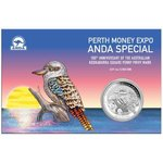 1 $ Dollar Kookaburra Australien Privy Mark Square Penny - Perth Mint Expo 1 oz Silber 2019 **