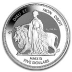 5 $ Dollar Una & The Lion British Virgin Islands 5 oz Silber 2019 Frosted BU **