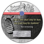 1 $ Dollar 50 Jahre Mondlandung - First Step on the Moon - Eagle Farbe 1 oz Silber USA 2019 **