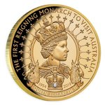 100 Dollar First Monarch Visit to Australia Elizabeth II. Niue Island 1 oz Gold + Diamant PP 2019