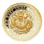 250 $ Dollar Chinese Dragon Trade Dollar High Relief Niue Island 1 oz Goldr PP 2019