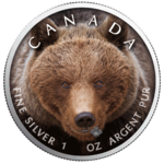 5 $ Dollar Canada's Wildlife - Grizzly Bear Maple Leaf Farbe farbig 1 oz Silber Kanada 2019 **