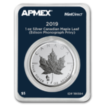 5 $ Dollar Maple Leaf Privy Edison Phonograph Apmex MintDirect® Single 1 oz Silber Kanada 2019 **