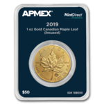50 $ Dollar Silver Maple Leaf Incuse Apmex MintDirect® Premier Kanada 1 oz Gold 2019 **