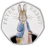 50 Pence Beatrix Potter The Tale of Peter Rabbit Grossbritannien UK Silber PP 2019