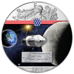 1 $ Dollar 50 Jahre Mondlandung - Way to the Moon - Eagle Farbe 1 oz Silber USA 2019 **