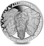20 $ Dollar BIG FIVE - Elephant - Elefant Sierra Leone High Relief 2 oz Silber PP 2019 **