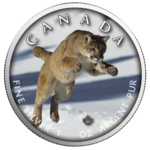 5 $ Dollar Trails of Wildlife -  Cougar Puma Maple Leaf 1 oz Silber Kanada 2019 **