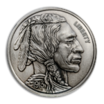 1 oz Silver Round - American Legacy Buffalo Nickel Antique Finish High Relief - Incuse 1 oz Silber