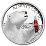 2 $ Dollar Coca Cola Polar Bear - Eisbär High Relief Fiji 1 oz Silber PP 2019 **