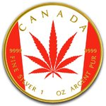 5 $ Dollar Canadian Flag  Maple Leaf - Cannabis Legalization - Legalisierung Kanada 1 oz Silber 2018