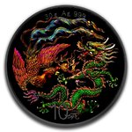 10 Yuan Black Panda - Dragon & Phoenix China 30 Gramm Silber Ruthenium 2018